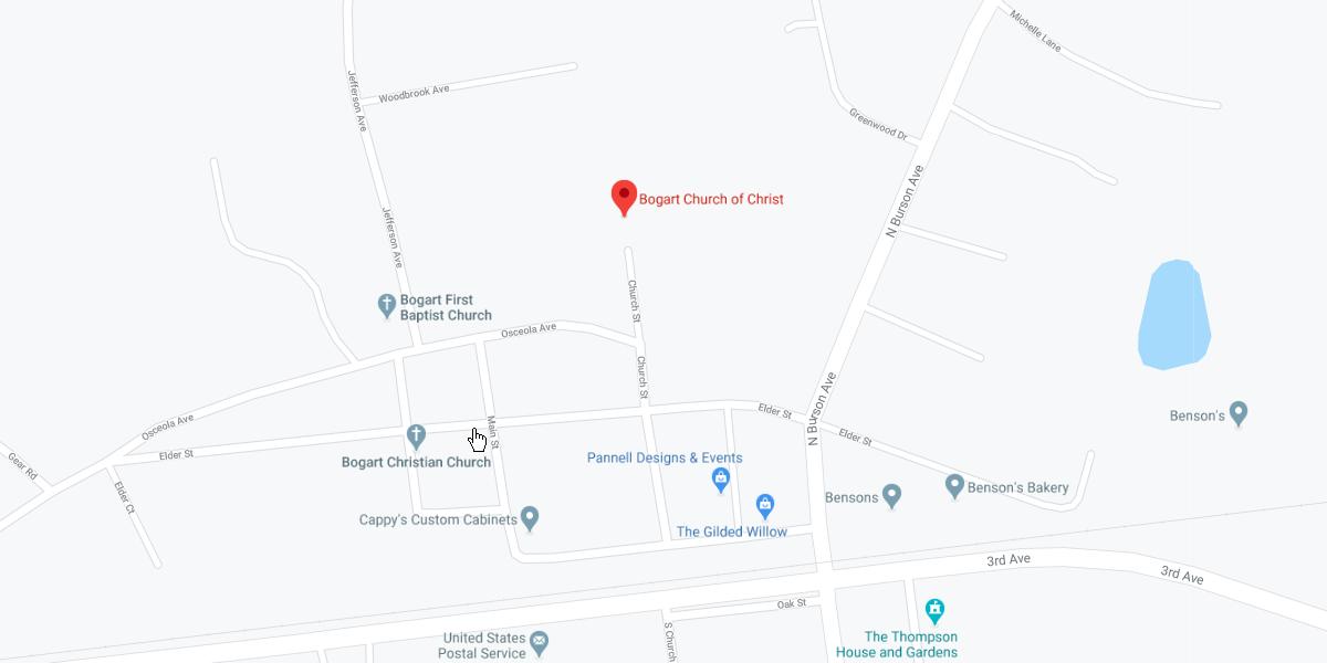 Bogart church of Christ - map